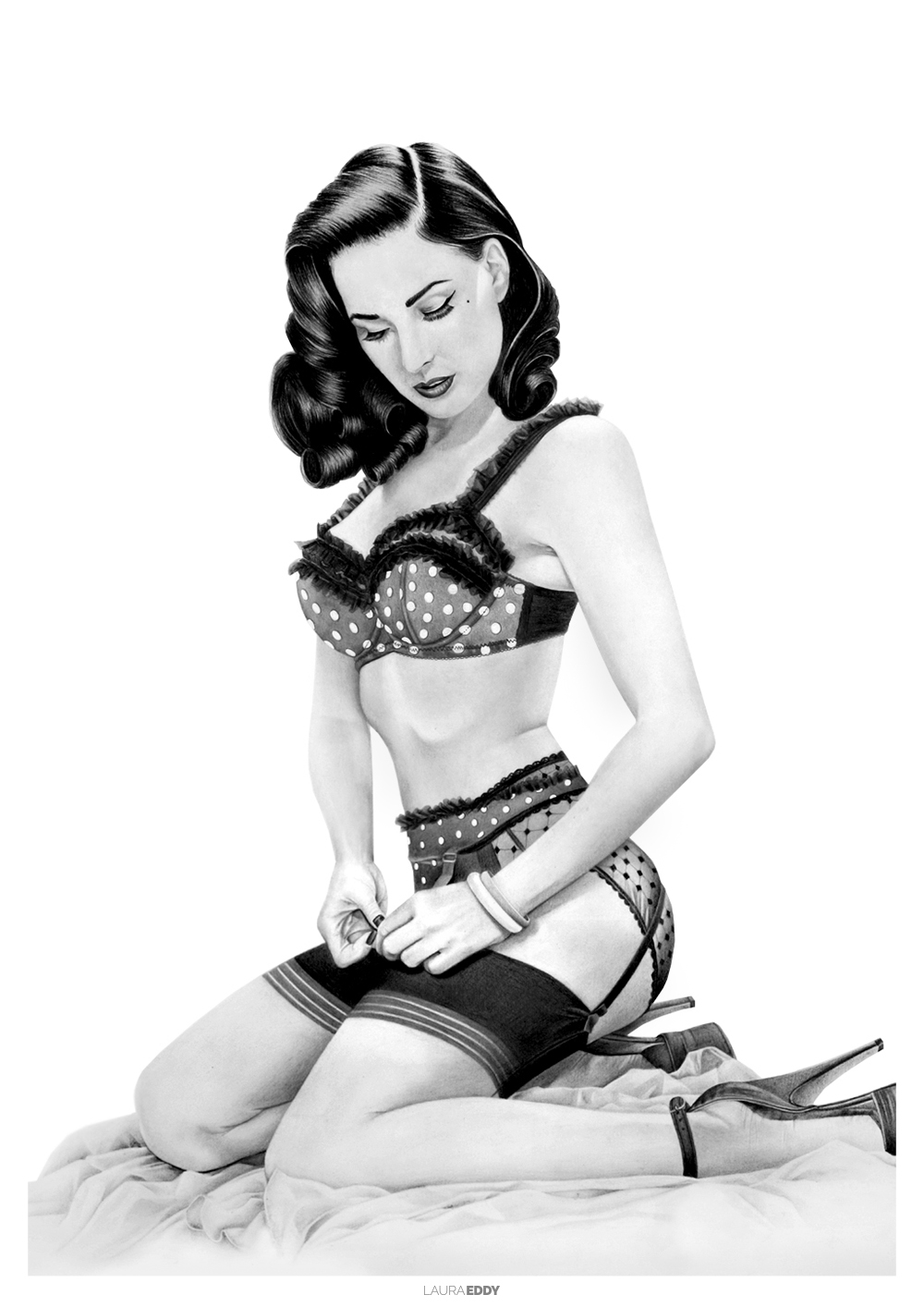 Dita Von Teese Pencil Drawing