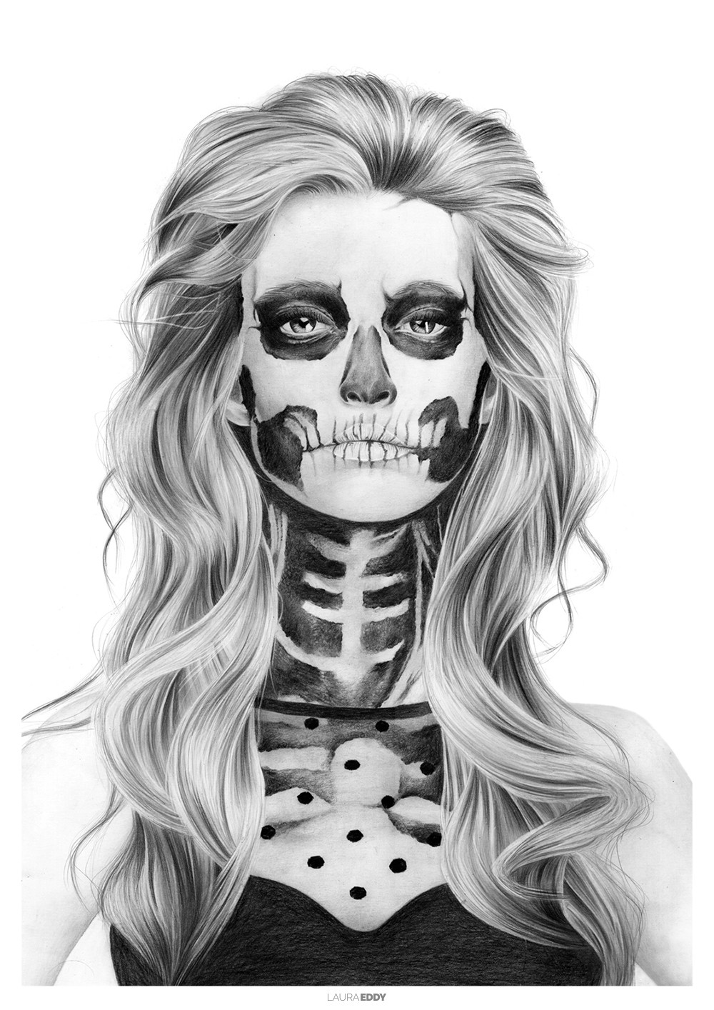 Skull Girl Pencil Drawing