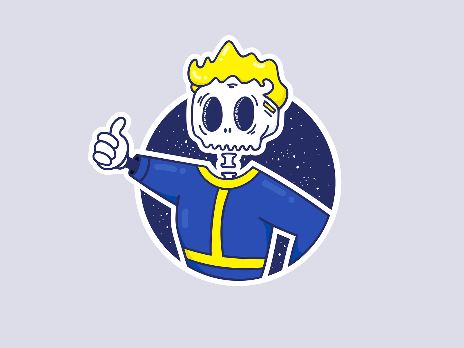 Vault Boy Skeleton Illustration